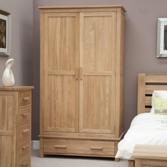 Opus Solid Oak 2 Door Gents Double Wardrobe