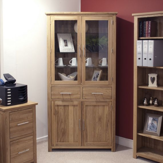 Opus Solid Oak 4 Door Library Unit/ Display Cabinet