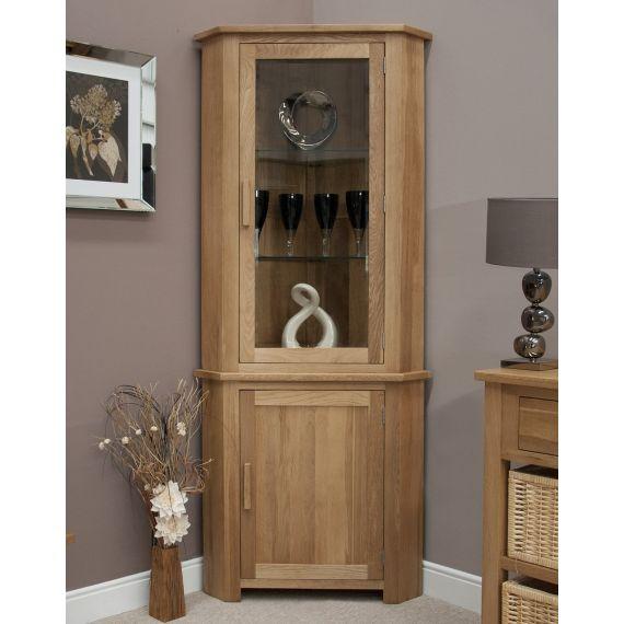 Opus Solid Oak Corner Display Cabinet - Opus Oak Furniture