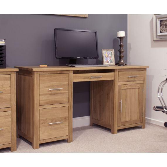 Opus Solid Oak Large Double Pedestal Computer Desk