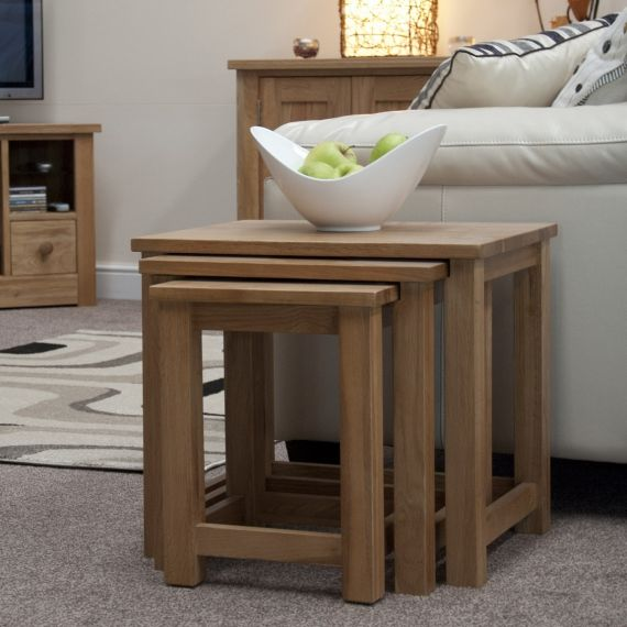 Opus Solid Oak Nest of 3 Tables