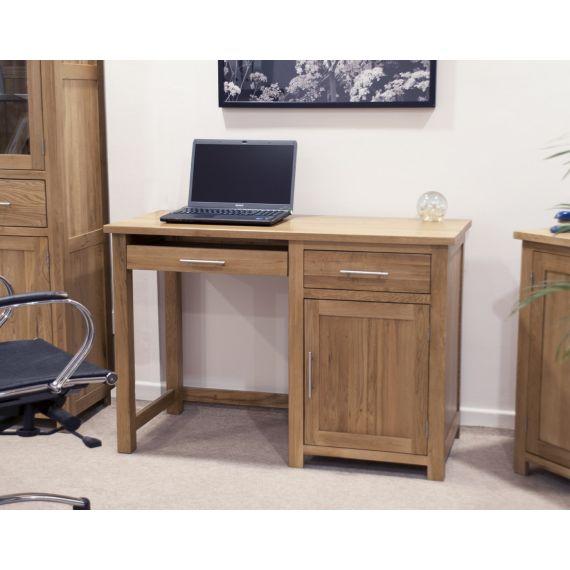Opus Solid Oak Small Single Pedestal Computer Desk