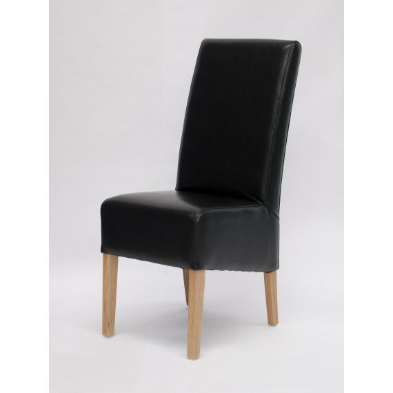 Oslo Black Leather Dining Chair with Solid Oak Legs
