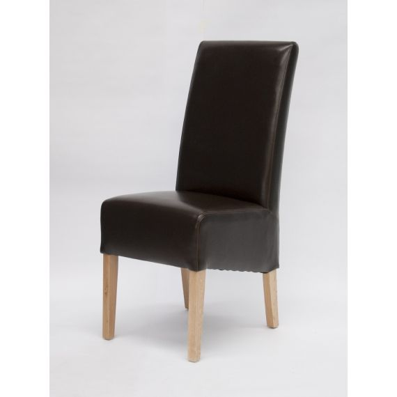 Oslo Brown Leather Dining Chair with Solid Oak Legs