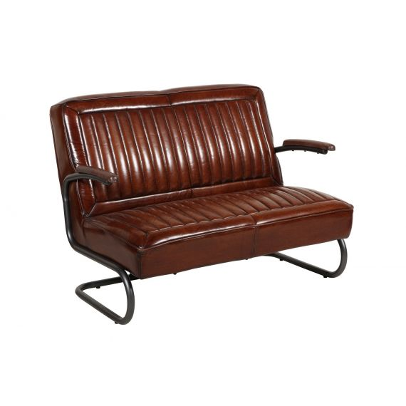 Pullman Brown Leather 2 Seater Bench