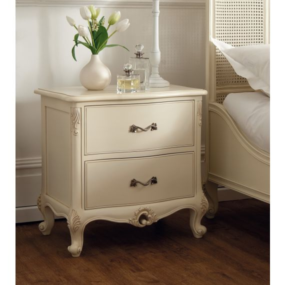 Régency French mid-18th Century Ivory White 2 Drawer Bedside Chest