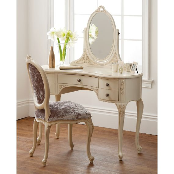 Régency French mid-18th Century Ivory White Dressing Table with Mirror