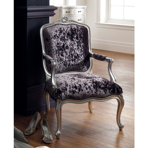 Régency French mid-18th Century Silver Leaf Arm Chair