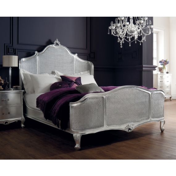 Régency French mid-18th Century Silver Leaf Bed Cane Panels