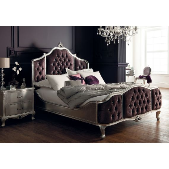Régency French mid-18th Century Silver Leaf Bed Upholstered Panels