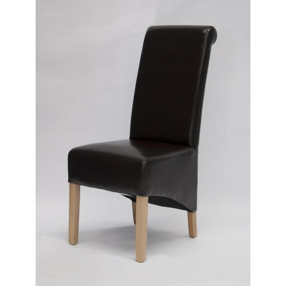 Richmond Brown Leather Dining Chair Solid Oak Legs