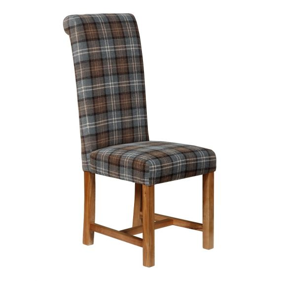 Rollback Dining Chair Orkney Dove Gray Tartan
