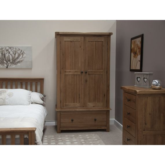 Rustic Solid Oak 2 Door Gents Double Wardrobe