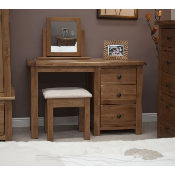 Rustic Solid Oak Dressing Table and Stool