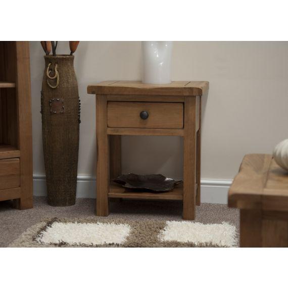 Rustic Solid Oak Lamp/Sofa Table