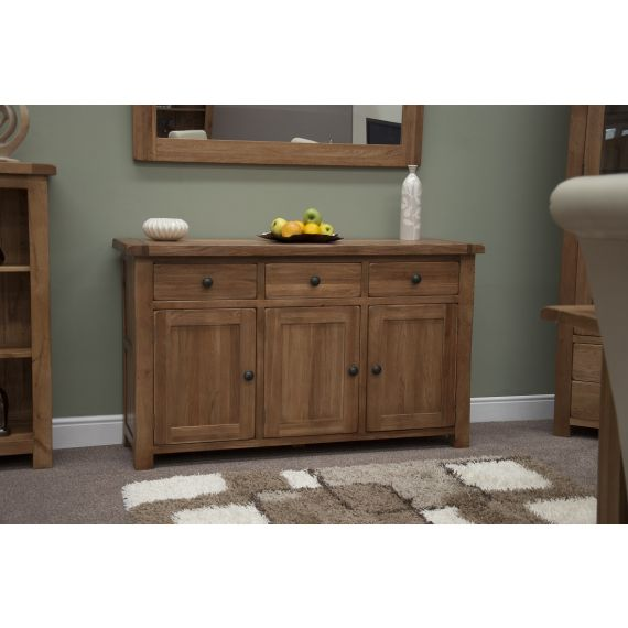 Rustic Solid Oak Large 3 Door Sideboard