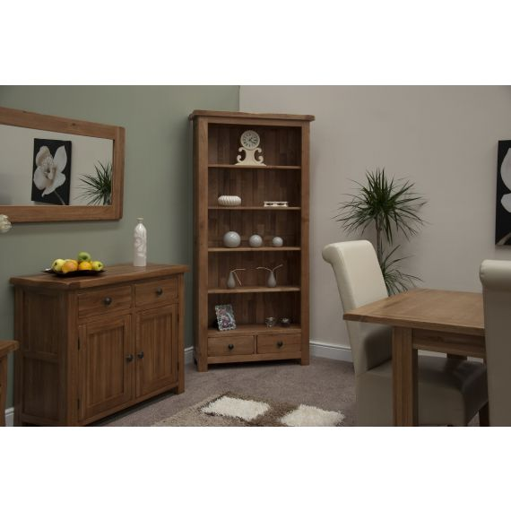 Rustic Solid Oak Large Bookcase with Drawers