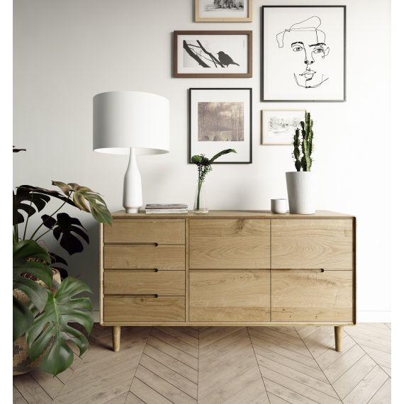 Scandic Oak Large Sideboard - Retro Style