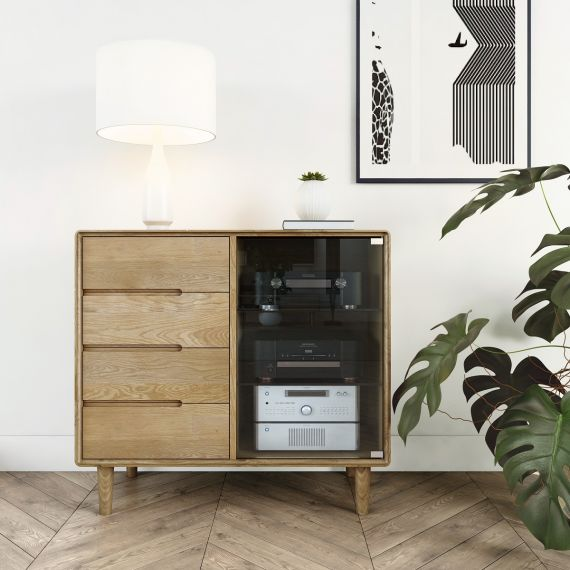 Scandic Oak Small Glazed Chest - Retro Style
