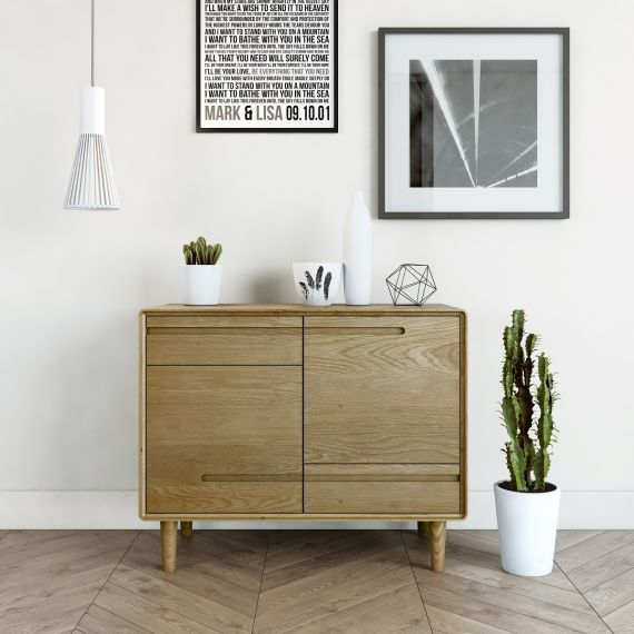 Scandic Oak Small Sideboard - Retro Style