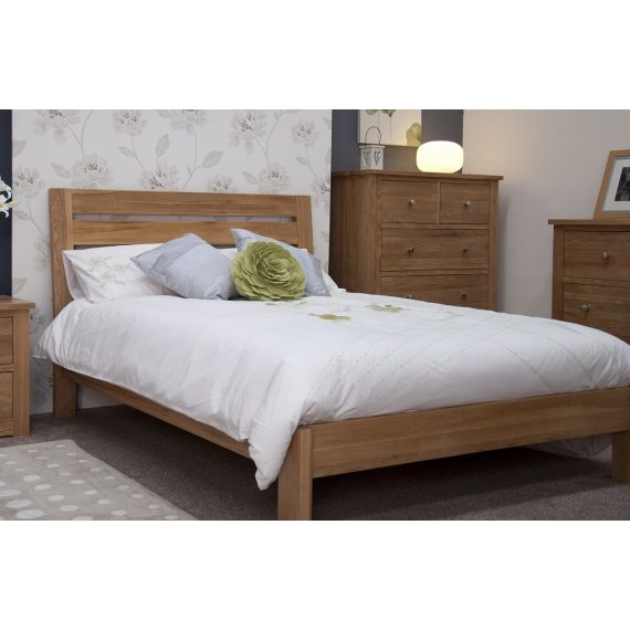 "Solid Oak 4' 6"" Double Bed"