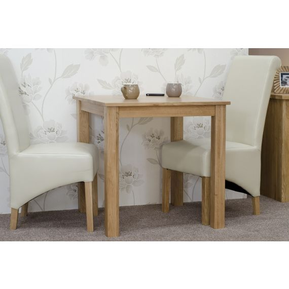 "Solid Oak Small 26"" Square Fixed Top Dining Table"
