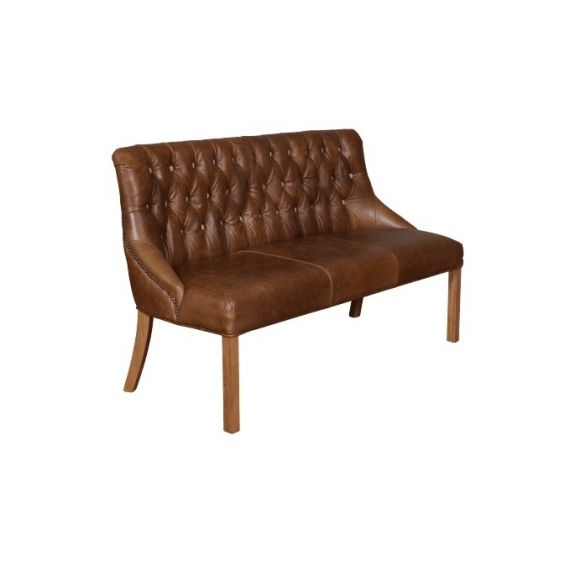 Stanton Brown Leather 3 Seater Dining Bench