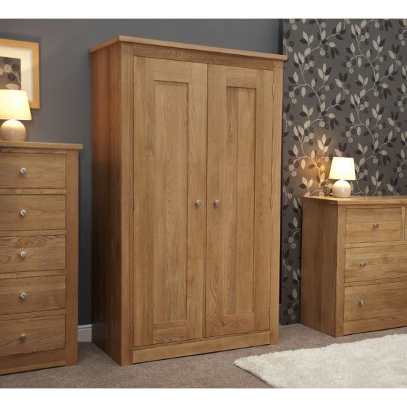 Torino Solid Oak 2 Door Double Wardrobe