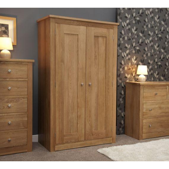 Torino Solid Oak 2 Door Double Wardrobe
