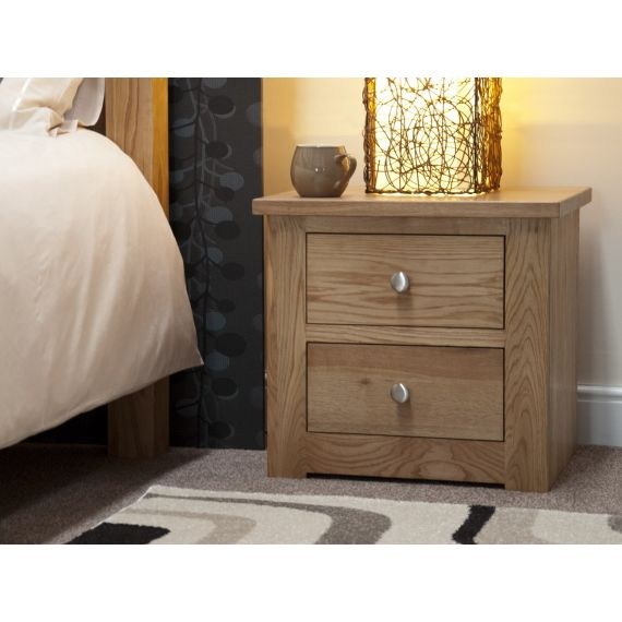 Torino Solid Oak 2 Drawer Narrow Bedside Chest