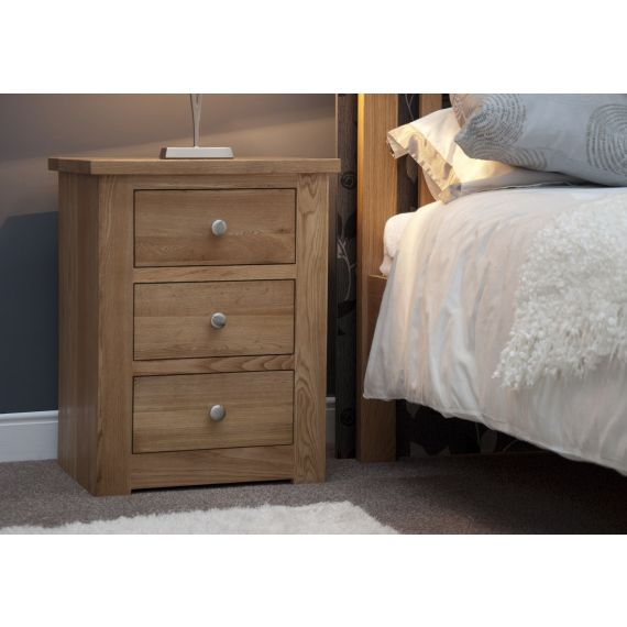 Torino Solid Oak 3 Drawer Narrow Bedside Chest