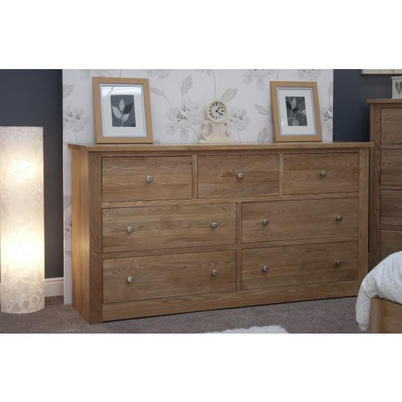 Torino Solid Oak 7 Drawer Wide Chest