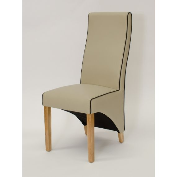 Wave Silverstone Ivory Leather Dining Chair