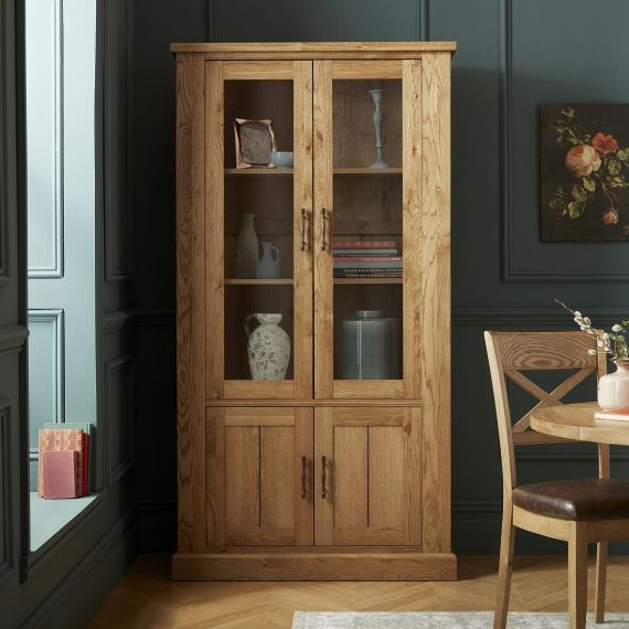 Westbury Rustic Oak Display Cabinet - Westbury Furniture