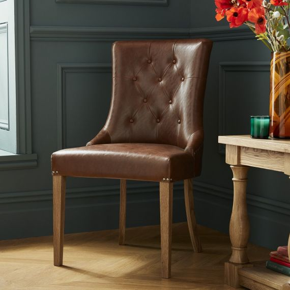 Westbury Rustic Oak Upholstered Dining Chair with Arms - Tan Leather (Pair) - Westbury Furniture