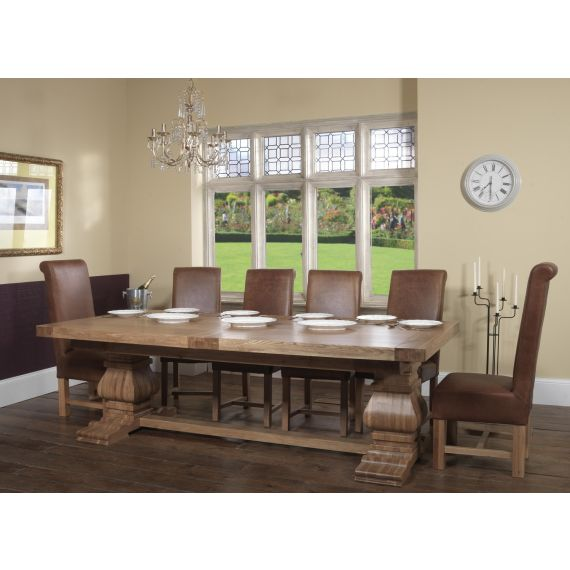 Windermere Rustic Oak Extending Monastery Dining Table