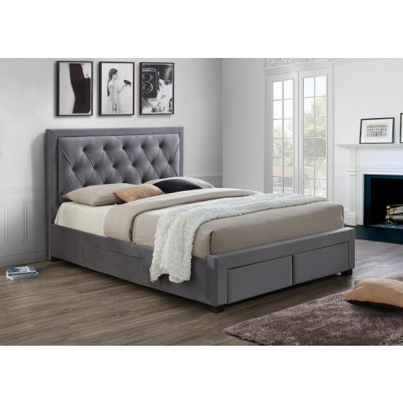 Woodbury Grey Fabric Bed with Drawers