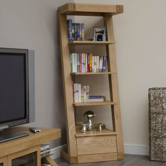 Z Shape Solid Oak 1 Drawer Narrow Bookcase