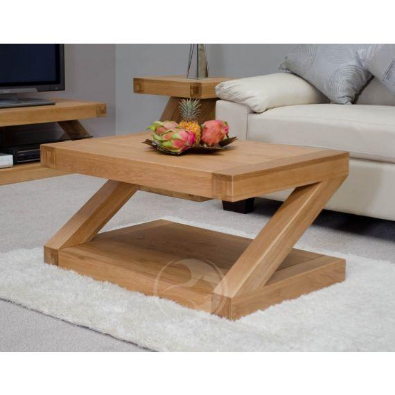 Z Shape Solid Oak Coffee Table