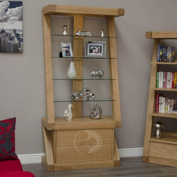 Z Shape Solid Oak Glass Display Unit