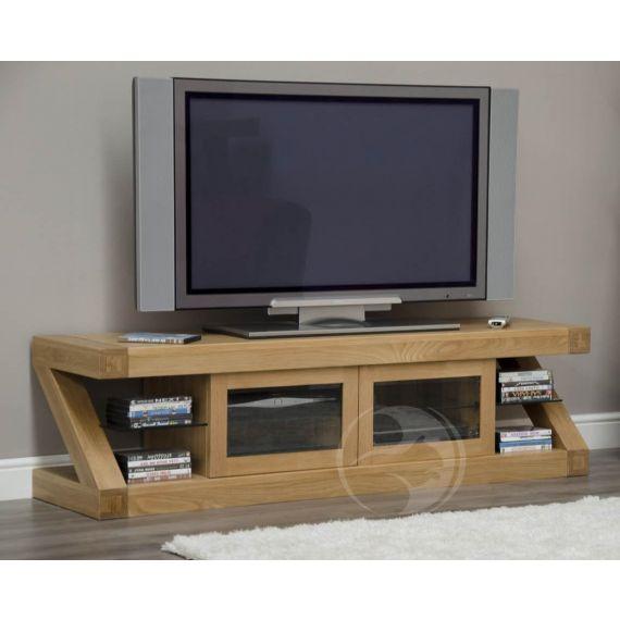 Z Shape Solid Oak Glazed TV Cabinet
