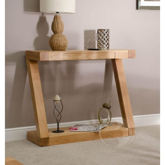 Z Shape Solid Oak Hall/ Console Table