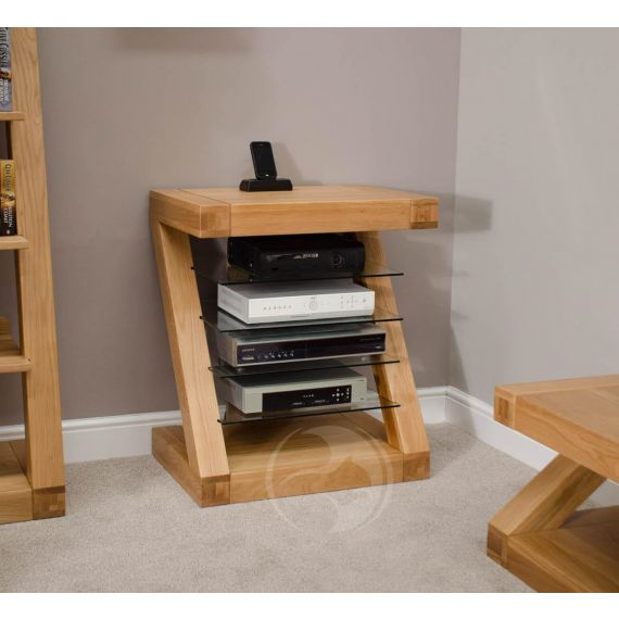 Z Shape Solid Oak HIFI Unit