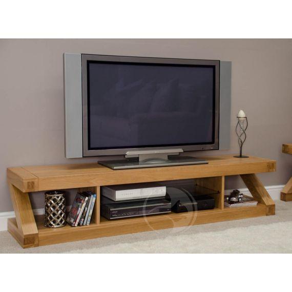 Z Shape Solid Oak Large Plasma TV Unit