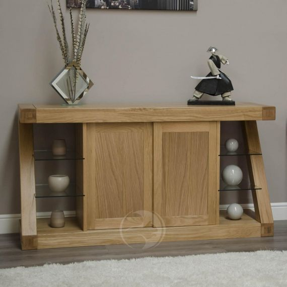 Z Shape Solid Oak Large Sideboard