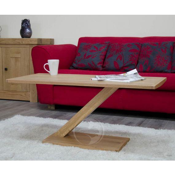 Z Shape Solid Oak Modern Coffee Table