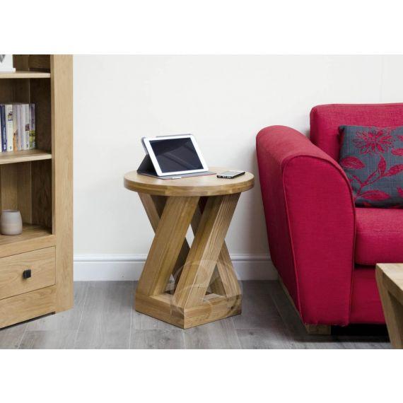 Z Shape Solid Oak Round Lamp Table
