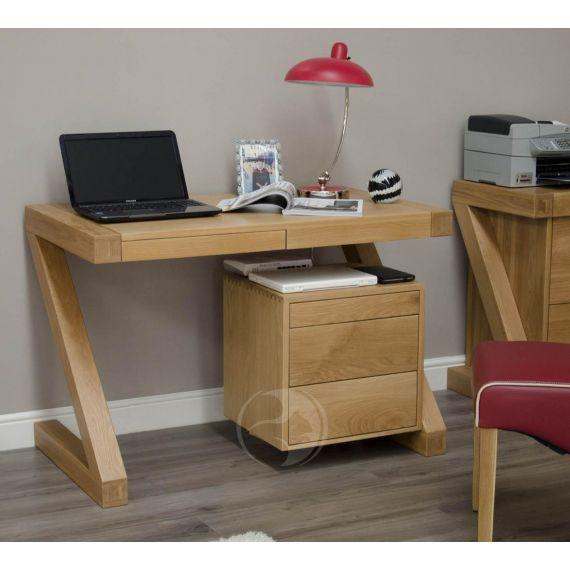 Z Shape Solid Oak Small Computer Desk
