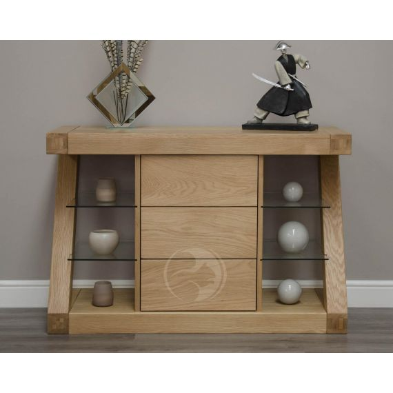 Z Shape Solid Oak Small Sideboard