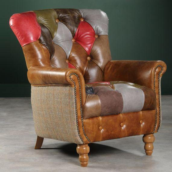 Alderly Leather Patchwork Armchair - Vintage Chair